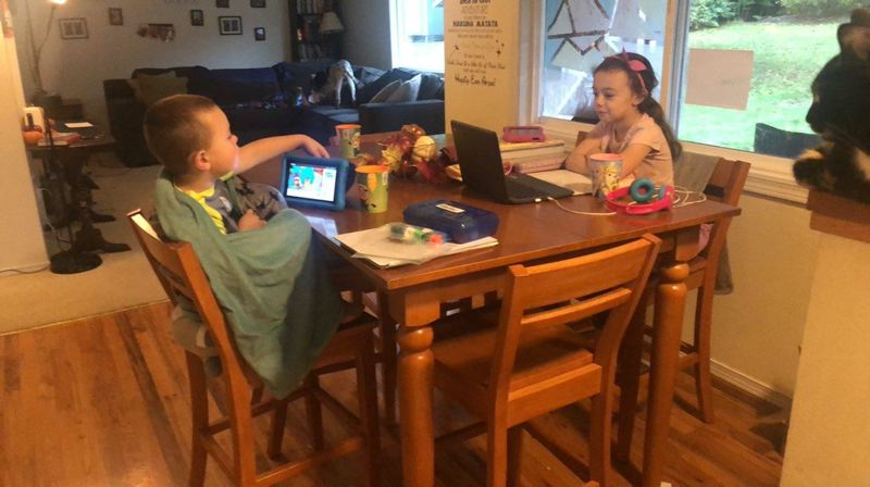 COURTESY PHOTO: AMANDA KIRKPATRICK - Skyler and Saige Kirkpatrick are excited to learn alongside their classmates as the Estacada School District moves to hybrid learning.