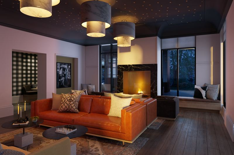 COURTESY PHOTO: MERCATO GROVE - The lounge space in the residential building. Pictured here is a model unit.