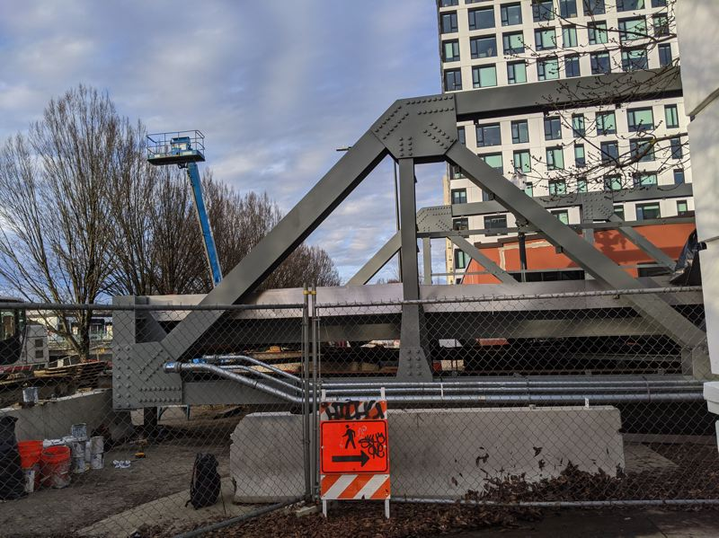 PMG PHOTO: JOSEPH GALLIVAN  - The new Flanders Crossing bike and pedestrian bridge over I-405 underpass in Northwest Portland, seen here staging at Northwest 15th Avenue and Flanders Street.