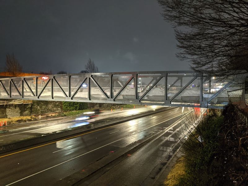 PMG PHOTO: JOSEPH GALLIVAN  - The new Flanders Crossing bike and pedestrian bridge over I-405. The bridge needs surfacing before it can open in the spring.