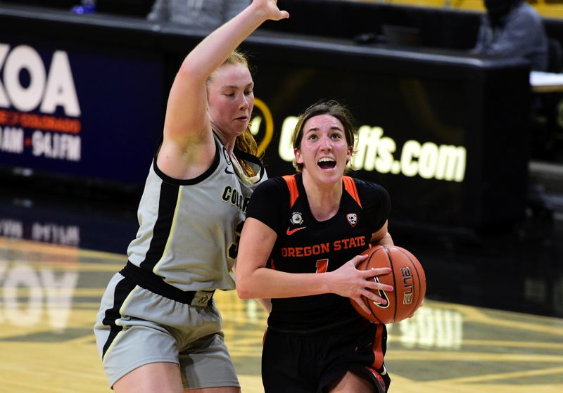 COURTESY PHOTO: CLIFF GRASSMICK - Aleah Goodman scored 21 points and passed 1,000 in her Oregon State career to help the Beavers beat Colorado on Jan. 29.