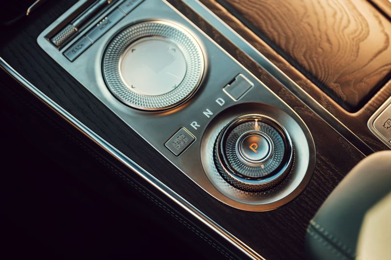 COURTESY GENESIS - The infotainment system in the 2021 Genesis GV80 can be controlled by the top dial on the center console, while the eight-speed automatic transmission is conrtolled by the bottom one.