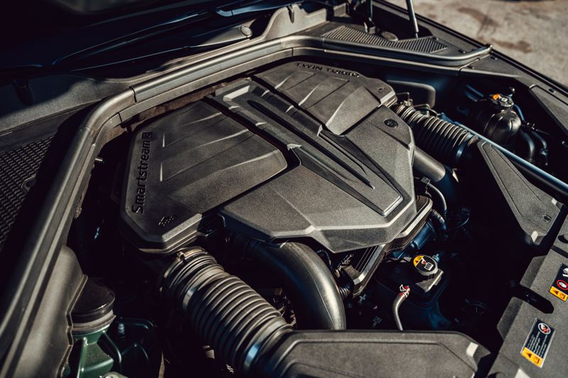 COURTESY GENESIS - The optiional twin-turbocharged 3.5-liter V6 in the 2021 Genesis GV80 pumps out a smooth 375 horsepower.