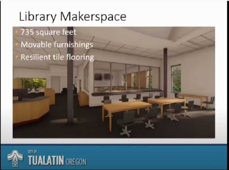 COURTESY CITY OF TUALATIN - Heres a rendering of what the 735-square-foot makerspace will look like inside the Tualatin Public Library.
