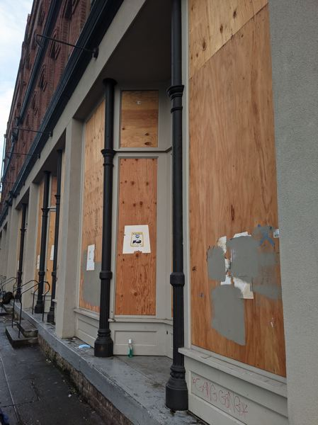 PMG: JOSEPH GALLIVAN - The new Harlow Hotel i at Park and Northwest Glisan Street opened in August 2019 but was all boarded up in Jan 2021.