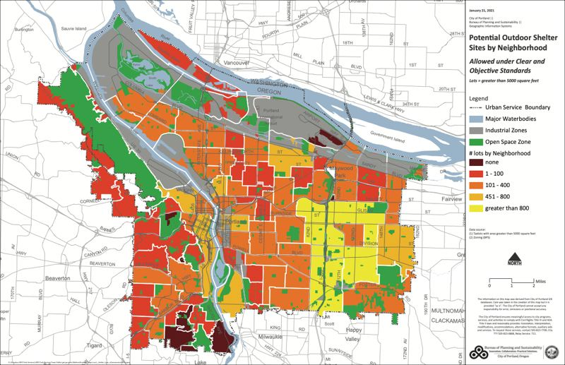 COURTESY CITY OF PORTLAND - This map prepared by the Bureau of Planning and Sustainability shows there are potential locations for additional homeless shelters and camps in nearly every neighborhood of Portland, with the largest number (yellow) on the east side.