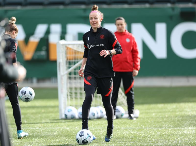 COURTESY PHOTO: CRAIG MITCHELLDYER/PORTLAND THORNS - Veteran defender Becky Sauerbrunn dribbles the ball during the Portland Thorns first 2021 training session on Tuesday, Feb. 4 at Providence Park.