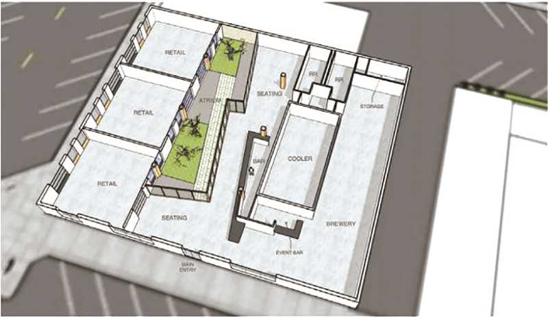 COURTESY PHOTO: CITY OF CANBY - An overhead look at the original rendering for the layout of the old Canby Library once Oregon City Brewing Company gets done renovating the space.