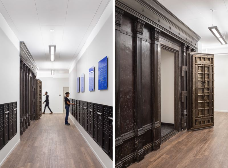 VIA CENTRAL CITY CONCERN: JOSH PARTEE PHOTOGRAPHY - The mailboxes and restored bank vault inside the Henry Building are shown here.