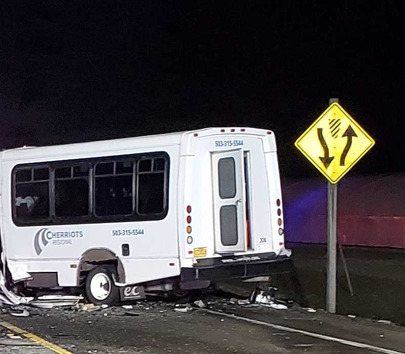COURTESY PHOTO - Three Woodburn residents were hospitalized after sustaining injuries as passengers in a Cherriots mini bus that collided with a car Wednesday night. The bus driver and the driver of the car both died. A passenger in the car also died on Saturday, three days after the crash.