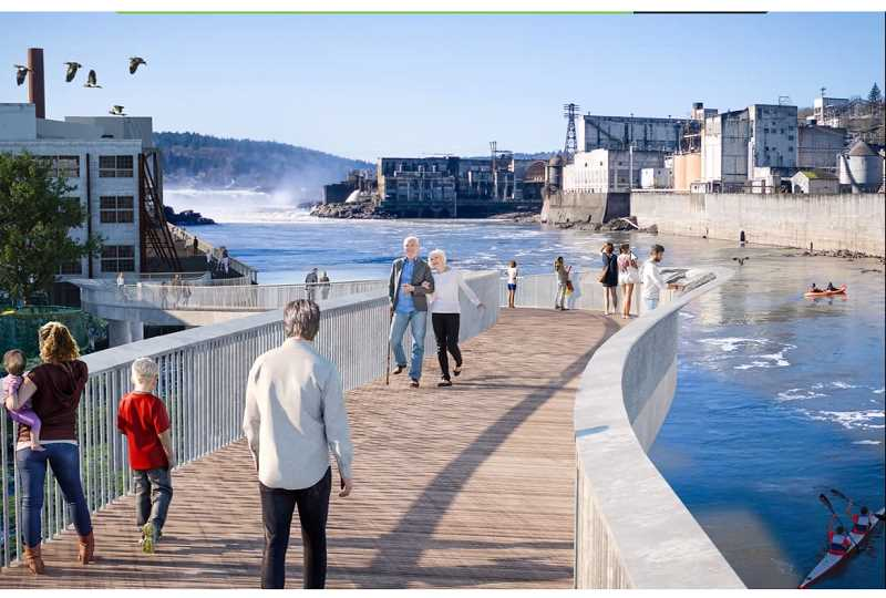 COURTESY RENDERING - The Confederated Tribes of Grand Ronde contracted with GBD Architects and Walker Macy to produce this rendering of what a pedestrian bridge along the Willamette River might look like.