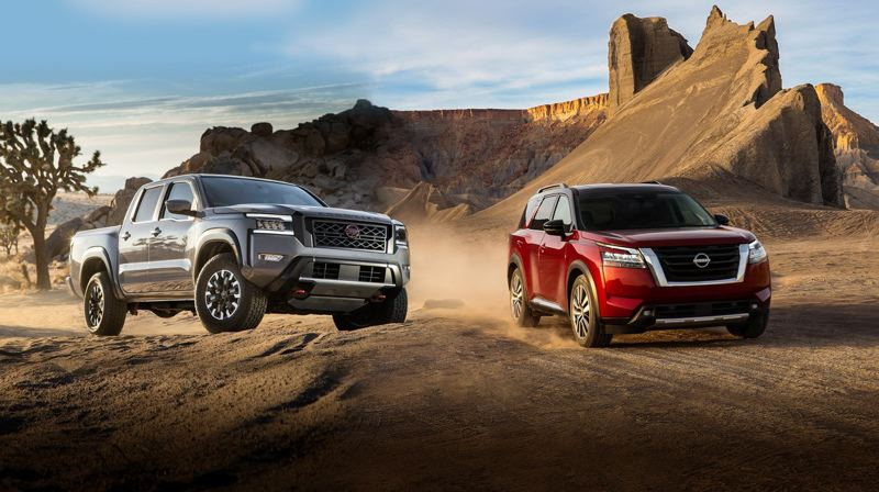 COURTESY NISSAN - The all-new 2022 Nissan Frontier (left) and Pathfinder models will arrive at area Nissan dealers this summer.