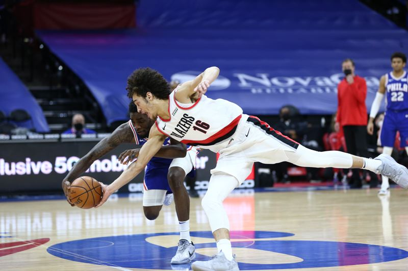 COURTESY PHOTO: BRUCE ELY/TRAIL BLAZERS - CJ Elleby was all over the floor the Blazers in their win at Philly, including scoring 15 points in 31 minutes.