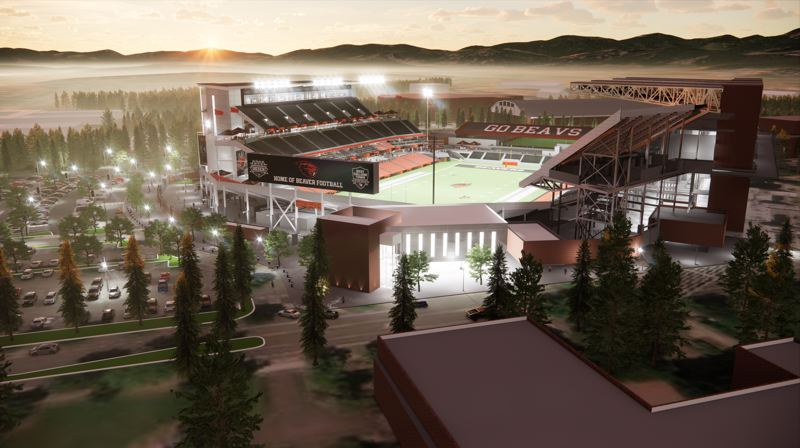 COURTESY: OREGON STATE ATHLETICS - Looking west, this rendering shows what Reser Stadium is expected to look like when the west grandstand is rebuilt.