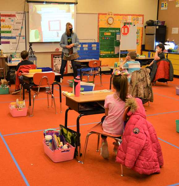 PMG PHOTO: CINDY FAMA - Nicole Weninger's class is socially distanced and ready to learn.