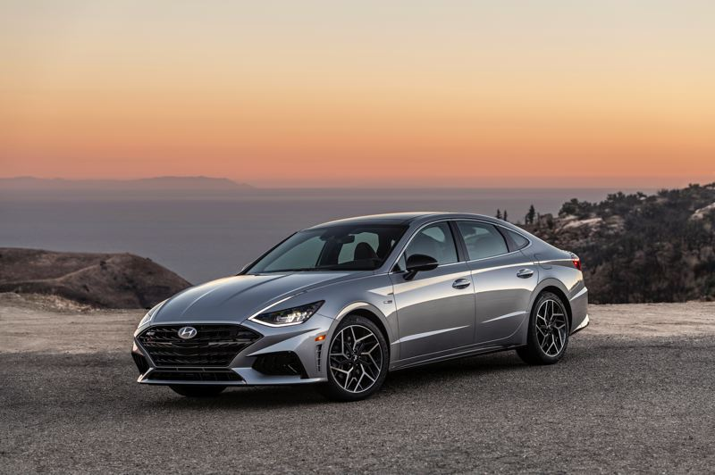 COURTEY HYUNDAI - Unique N Line exterior trim pieces and 19-inch alloy wheels enhance what Hyundai calls the 'Sensuous Sportiness' of the Sonata design.