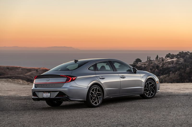 COURTESY HYUNDAI - Even the rear end of the 2021 Sonata N Line gets special treatment, including dual exhaust tips.