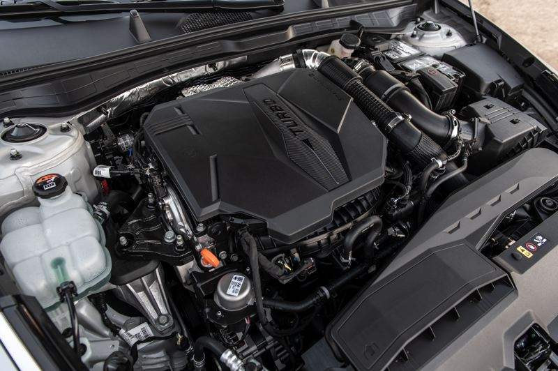 COURTESY HYUNDAU - The turbocharged 2.5-liter engine in the 2021 Sonata N Line is the most powerful yet, producing 290 horsepower and 311 foot pounds of torque.