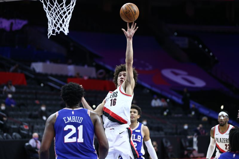 COURTESY PHOTO: BRUCE ELY/TRAIL BLAZERS - Portland rookie CJ Elleby had a career night at Philadelphia on Thursday, Feb. 4, scoring 15 points and grabbing seven rebounds in 31 minutes. Then, he didn't play against the New York Knicks in the next game.