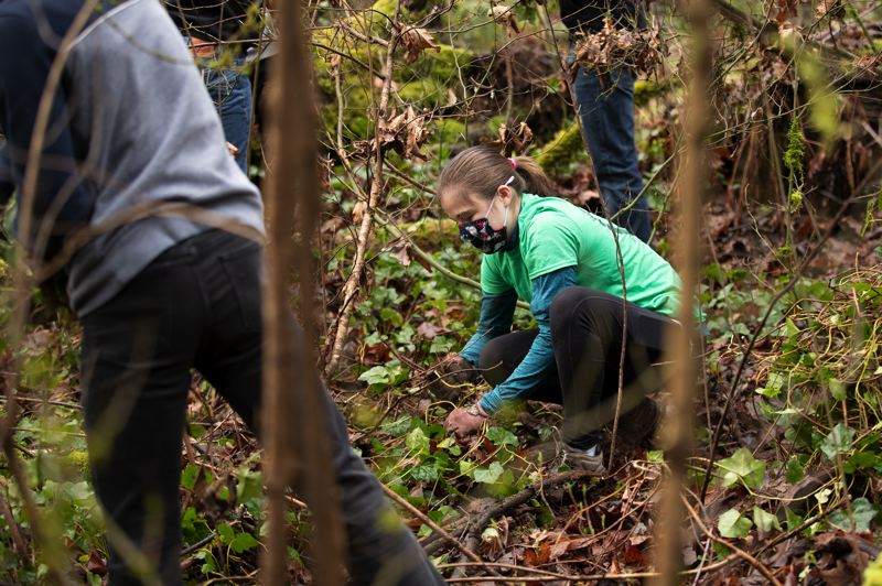 PMG PHOTO: JAIME VALDEZ - Maddie Mathews, a junior at West Linn High School, works with her robotics team during a SOLVE cleanup event at Mary S Young Park
