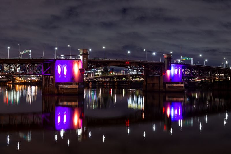 PMG PHOTO: DIEGO G. DIAZ - The Morrison Bridge is specially lit during the Portland Winter Light Festival.