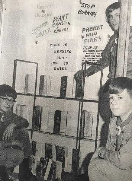 CENTRAL OREGONIAN - February 11, 1971: Scouts from Troop 28 decorated window space in Penney's Department Store Saturday for the observance of National Boy Scout Week. Mark Crane, Al Eldridge and Lee Romine helped to construct the display, which calls attention to the need for the preservation of natural resources. Along with other scouts around the nation, Troop 28 is working on projects coordinated with Project SOAR: Save Our American Resources.
