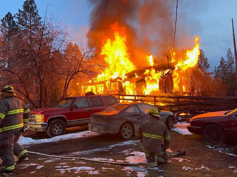 PHOTO COURTESY OF WARM SPRINGS POLICE DEPARTMENT - Fire destroyed a Warm Springs home Feb. 2.