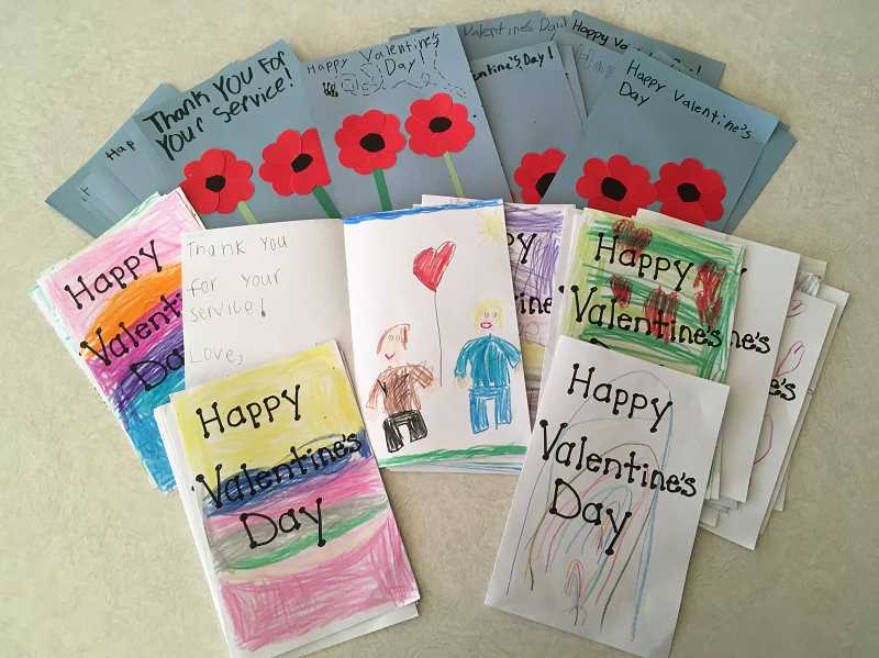 PHOTO COURTESY OF LAURA MOORE   - Culver Elementary School students made Valentine's Day cards for military veterans in resident homes affected by COVID-19.