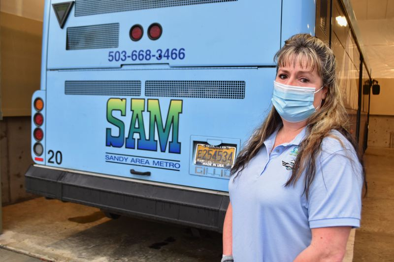 PMG PHOTO: BRITTANY ALLEN  - Rhonda Abbett-Carey has driven the SAM Gresham-Sandy commuter bus for six years and feels blessed to work for a company that has cared about her health from day one of the pandemic.