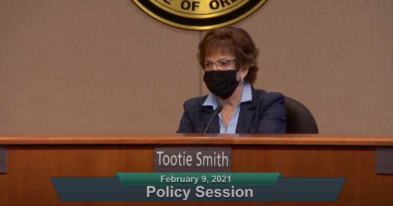 SCREENSHOT - Clackamas Board of County Commissioners Chair Tootie Smith proposed repealing the county's vehicle registration fee to help offset costs to taxpayers if there is a raise in the public safety levy.