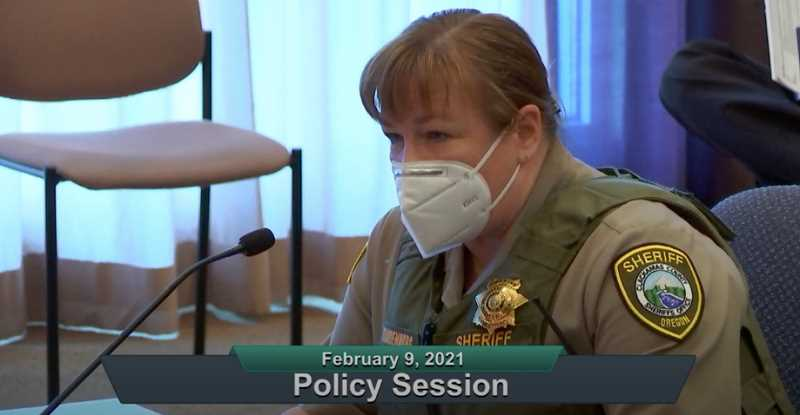 SCREENSHOT - Clackamas County Sheriff Angela Brandenburg outlined the need for an increase in the public safety levy during a meeting Feb. 9.