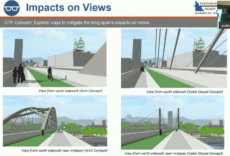 COURTESY PHOTO: MULTNOMAH COUNTY - Artist renderings of the four replacement Burnside Bridge designs under consideration.