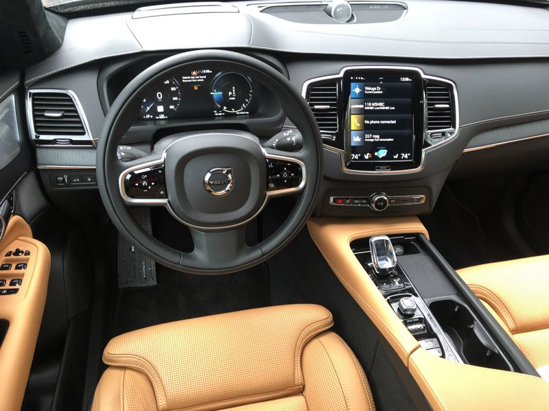 PMG PHOTO: JEFF ZURSCHMEIDE - Volvo's Sensus infotainment package is displayed on a nine-inch touchscreen mounted vertically, high in the center of the dash, in the 2021 XC90.
