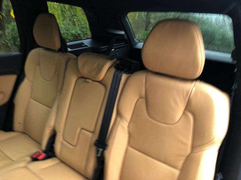 PMG PHOTO: JEFF ZURSCHMEIDE - In the second row of the 2021 Volvo XC90, you can choose an adaptable three-across bench seat format or twin captain's chairs for a six-passenger model. The third row is smaller, seating two people.