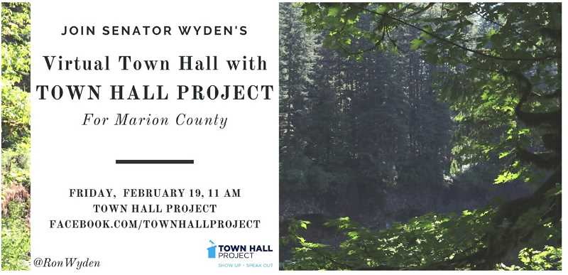 COURTESY PHOTO: TOWN HALL PROJECT - Ron Wyden Schedules Marion County Virtual Town Hall.