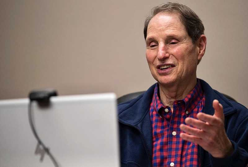 PMG PHOTO: JAIME VALDEZ - U.S. Sen. Ron Wyden speaks to Washington County constituents via videoconference Sunday, Jan. 17.