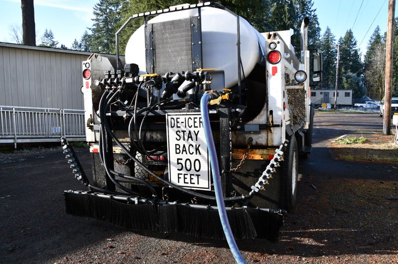PHOTO COURTESY OF CLACKAMAS COUNTY - A de-icer truck prepares to hit the streets of Clackamas County ahead of potential snow and ice accumulation this weekend.