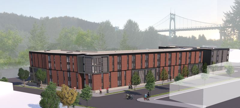 SUBMITTED - A rendering shows the plan for the four-story Cathedral Village Apartments project in North Portland's St. Johns neighborhood.