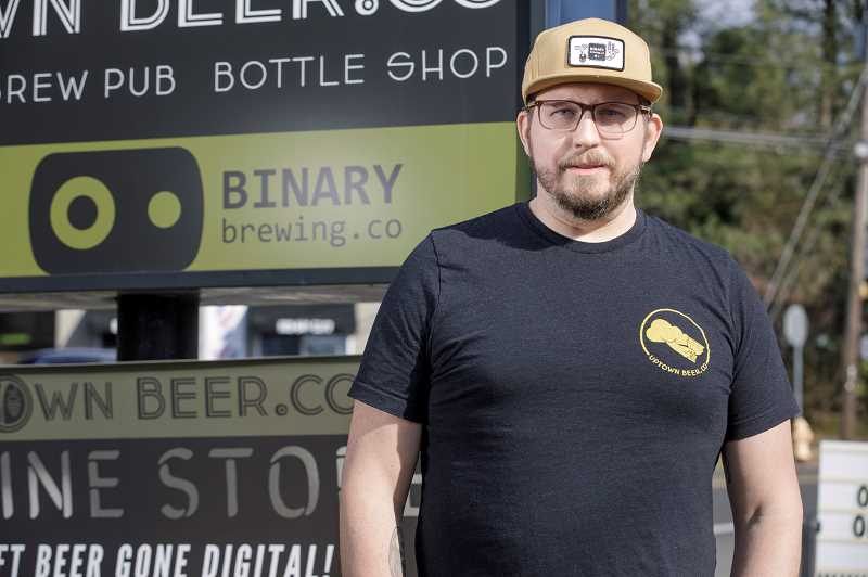 PMG PHOTO: JONATHAN HOUSE - Binary Brewings Josh Johnson at the current Scholls Ferry Road location.