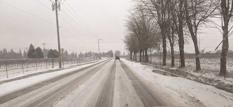 PMG PHOTO: JOHN BAKER - With temperatures not rising above 32 degrees on Friday, the chance for slick conditions on roadways and sidewalks will increase. A new storm is set to hit the Canby-Molalla area later on Friday.