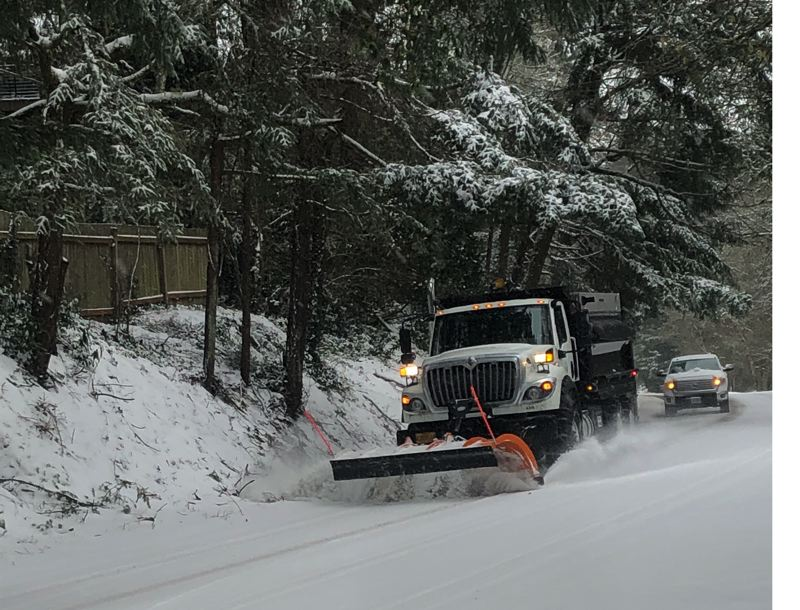 COURTESY PHOTO - Snow covers roads in Lake Oswego on Friday, Feb. 12.