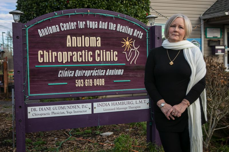 PMG PHOTO: JAIME VALDEZ - Diane Gudmundsen, who owns Anuloma Chiropractic Clinic in Hillsboro, says she was frustrated to learn that administrative employees at large hospitals who work from home were receiving the COVID-19 vaccine before many healthcare workers like her.