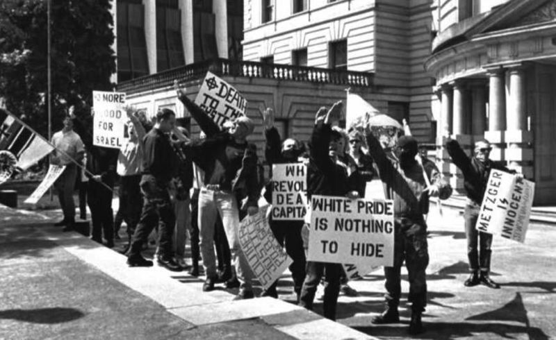 COURTESY PHOTO - White supremacists gathered outside Portland City Hall on May 5, 1991, to protest the civil trial ruling against Tom Metzger.
