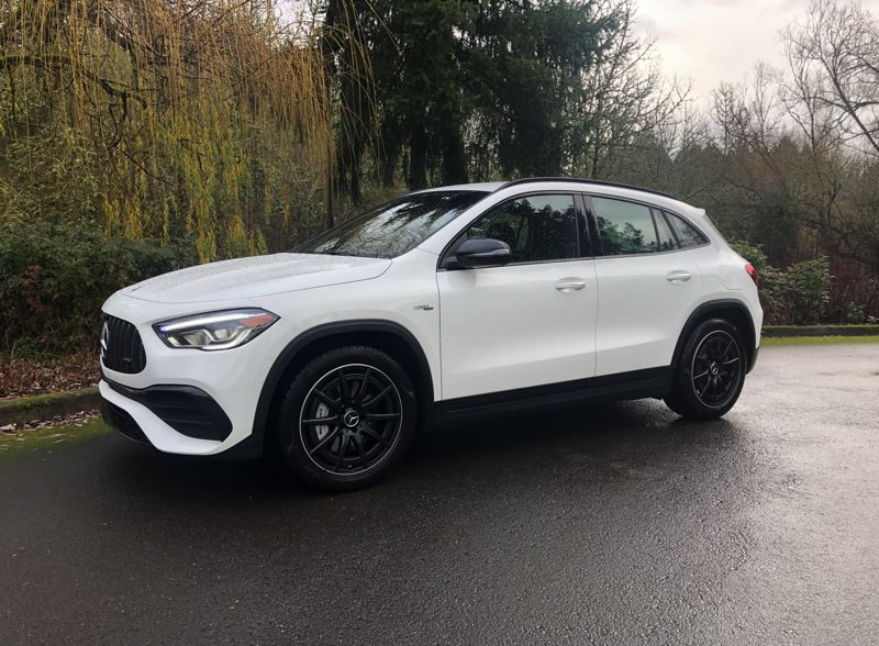 PMG PHOTO: JEFF ZURSCHMEIDE - The AMG version of the GLA pumps up the 2.0-liter turbocharged four-cylinder engine to 221 horsepower and comes standard with all-wheel-drive.