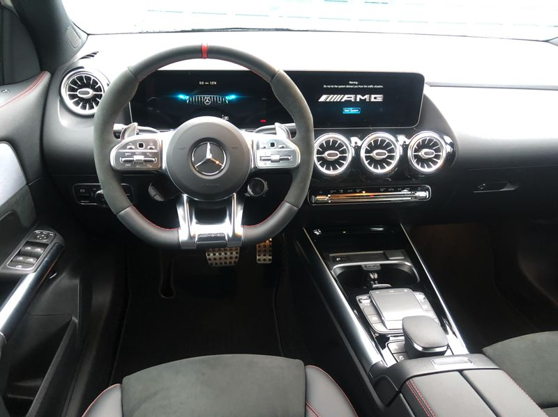 PMG PHOTO: JEFF ZURSCHMEIDE - The GLA comes with several screens, but they're all integrated into one big glass dash panel that looks great.