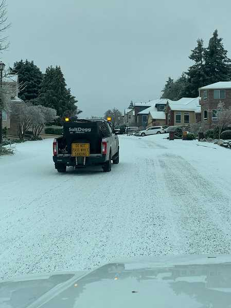 COURTESY PHOTO: CITY OF TIGARD - A smaller sanding vehicle from the city was able to make its way up Benchview Terrace Saturday, making the roadway less slick.