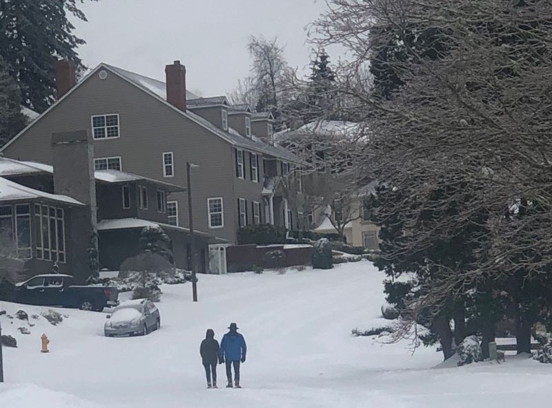 PMG PHOTO: MARK GARBER - A couple went out for a morning stroll on Southeast Avondale in Gresham on Feb. 13.