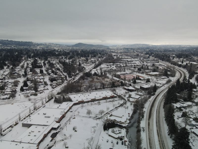 PMG PHOTO: ALVARO FONTAN - Snowy roads were visible from the air above Milwaukie in Clackamas County on Feb. 13.