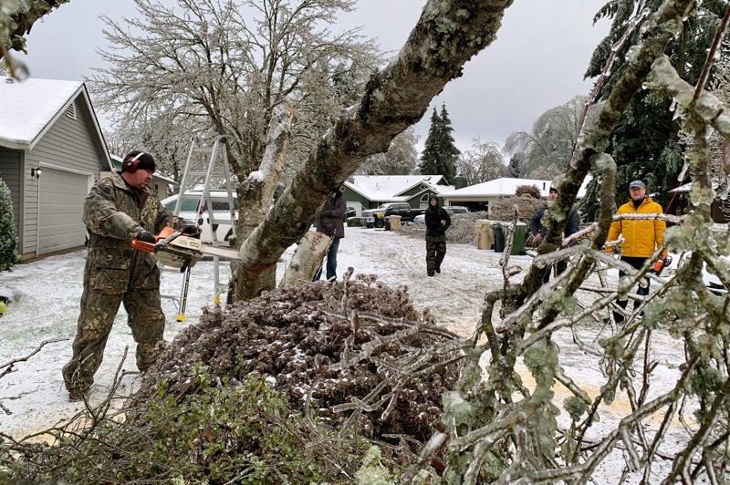 PMG PHOTO: JAIME VALDEZ - Neighbors who live along SW Chantilly help remove a tree that blocked the road in Wilsonville on Saturday, Feb. 13.