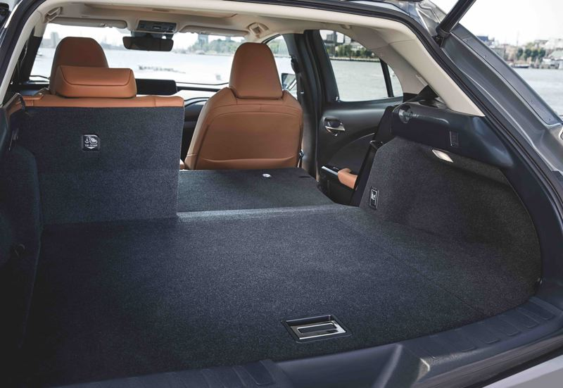 COURTESY LEXUS - Despite being a subcompact crossover, the 2021 Lexus UX 200 has a reasonable amount of cargo space, especially with the rear seats folded down.